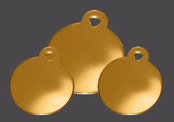 Gold Round Pet Dog Tag